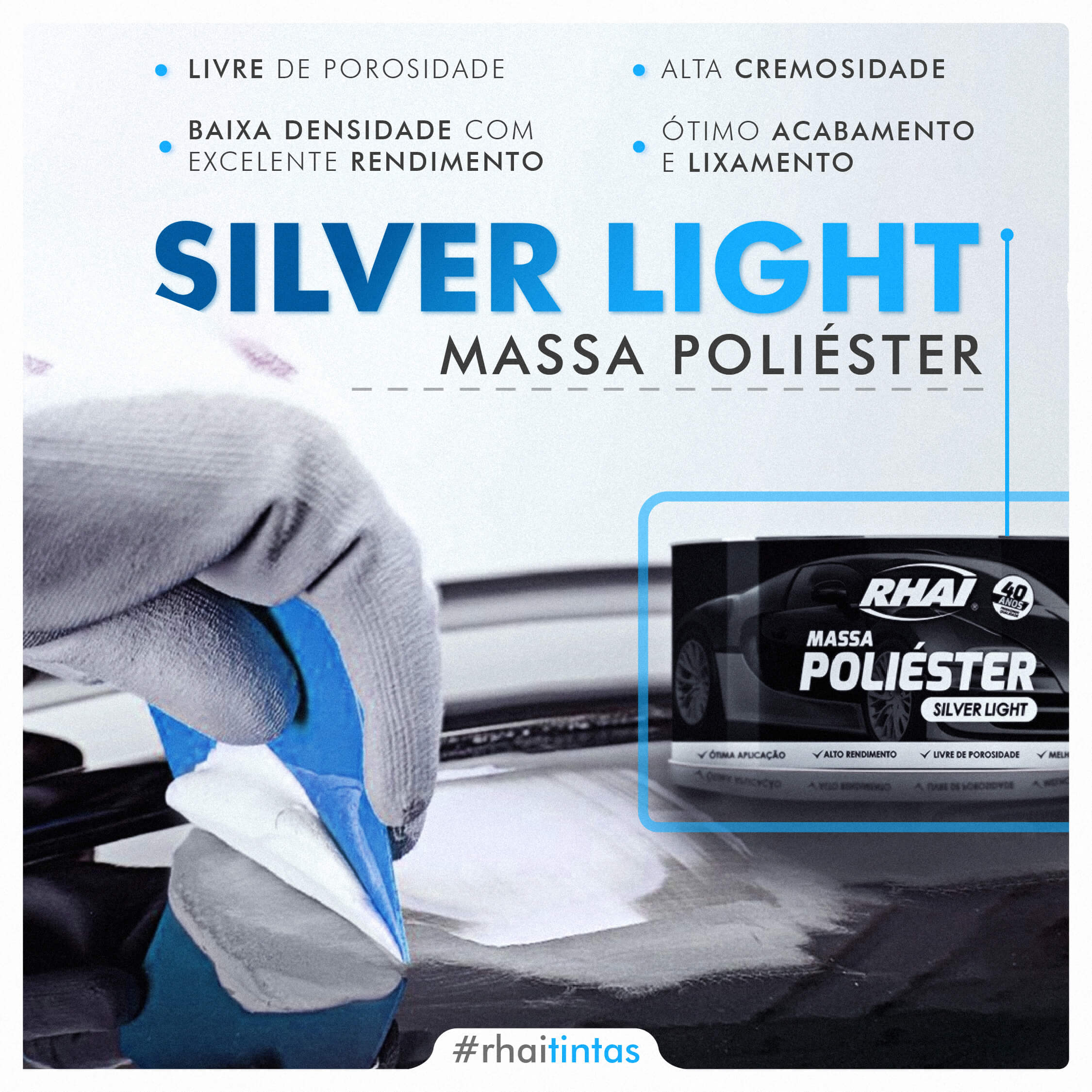 Massa Poliéster Silver Light